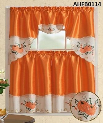3 Pc Christmas Candle Beige Kitchen Window Curtain Set Regarding Abby Embroidered 5 Piece Curtain Tier And Swag Sets (View 2 of 30)