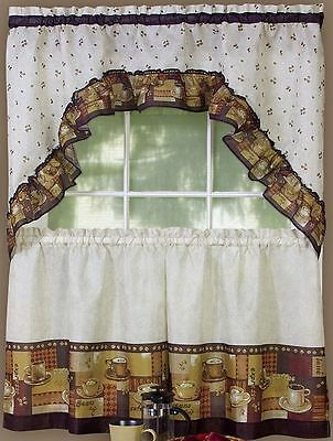 """Inspiration about 3 Pc Curtains Cottage Set: 2 Tiers & Swag (57"""" X 30"""") Susan Within Sunflower Cottage Kitchen Curtain Tier And Valance Sets (#48 of 50)"""