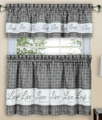 "3 Pc Curtains Set: 2 Tiers & Valance(58""x 14"") Live Laugh Regarding Lemon Drop Tier And Valance Window Curtain Sets (#1 of 30)"