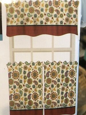 """3 Pc Flowered Kitchen Curtain Tier And Valance Set 36"""" Long In Sunflower Cottage Kitchen Curtain Tier And Valance Sets (#2 of 50)"""