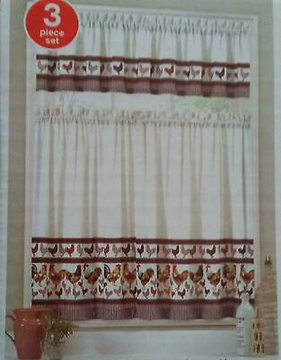 "3 Pc Houndstooth Rooster Kitchen Curtain Tier & Valance Set New 36"" L 32251284809 