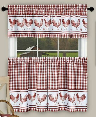 3 Pc Kitchen Printed Curtains Set, (58X14) & (58X36 In Barnyard Window Curtain Tier Pair And Valance Sets (View 2 of 50)