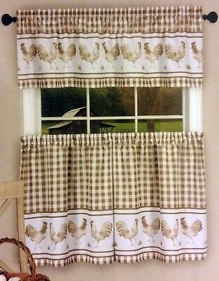 3 Pc Kitchen Printed Curtains Set, (58X14) & (58X36 Throughout Barnyard Window Curtain Tier Pair And Valance Sets (View 3 of 50)