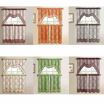 3 Pc Kitchen Window Curtain Set: Two Lay With Embroidered 'Coffee Cup' 5 Piece Kitchen Curtain Sets (View 3 of 30)