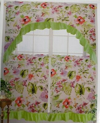 Inspiration about 3 Pc Printed Curtains Set: 2 Tiers & Swag, Bunch Of Leaves Pertaining To Multicolored Printed Curtain Tier And Swag Sets (#29 of 30)