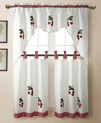 3 Pc Strawberry Kitchen Window Embroidered Curtain Set W In Embroidered Ladybugs Window Curtain Pieces (View 3 of 50)