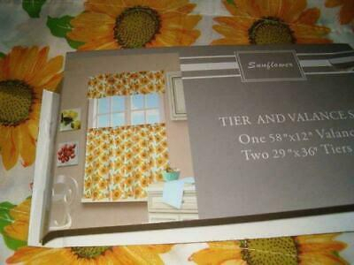 3 Pc Sunflower Kitchen Curtains Tier & Valance Set | Ebay With Sunflower Cottage Kitchen Curtain Tier And Valance Sets (#3 of 50)