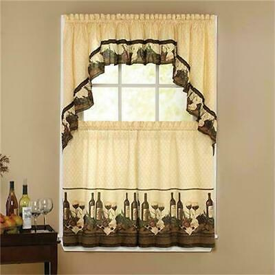 "3 Pc Vino Sage Kitchen Curtains Tier And Ruffled Valance Set 36"" Sage No Swag 