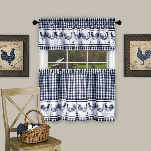 Inspiration about 3 Piece Barnyard Buffalo Check Rooster Tier And Valance For Grace Cinnabar 5 Piece Curtain Tier And Swag Sets (#24 of 30)