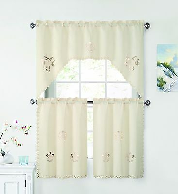 3 Piece Doily Floral Embroidered Kitchen Window Curtain Set Intended For Spring Daisy Tiered Curtain 3 Piece Sets (View 1 of 30)