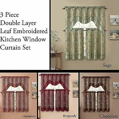Inspiration about 3 Piece Double Layer Leaf Embroidered Kitchen Window Curtain Set With  Valance | Ebay Throughout Faux Silk 3 Piece Kitchen Curtain Sets (#16 of 44)