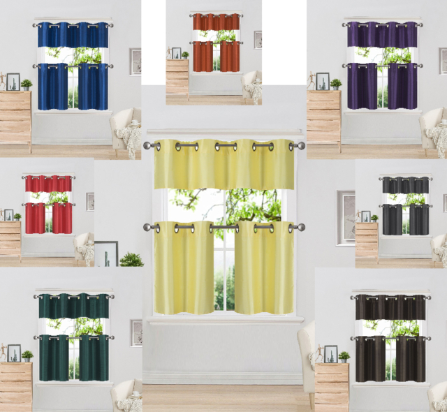 Inspiration about 3 Piece Faux Silk Grommet Lined Thermal Blackout Kitchen Window Curtain Set Within Faux Silk 3 Piece Kitchen Curtain Sets (#11 of 44)