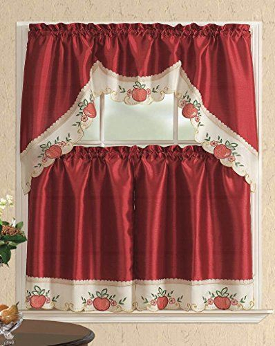 Inspiration about 3 Piece Kitchen Curtain Set: 2 Tiers And 1 Valance Burgundy Within Red Delicious Apple 3 Piece Curtain Tiers (#2 of 50)