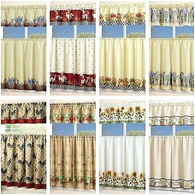Inspiration about 3 Piece Kitchen Curtain Set – Freddybeach.co For Urban Embroidered Tier And Valance Kitchen Curtain Tier Sets (#15 of 30)