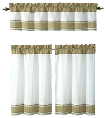Inspiration about 3 Piece Kitchen Curtain Set – Freddybeach.co In Grey Window Curtain Tier And Valance Sets (#40 of 50)