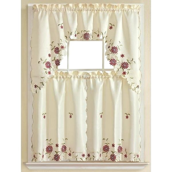 Inspiration about 3 Piece Kitchen Curtain Set – Freddybeach.co In Urban Embroidered Tier And Valance Kitchen Curtain Tier Sets (#27 of 30)