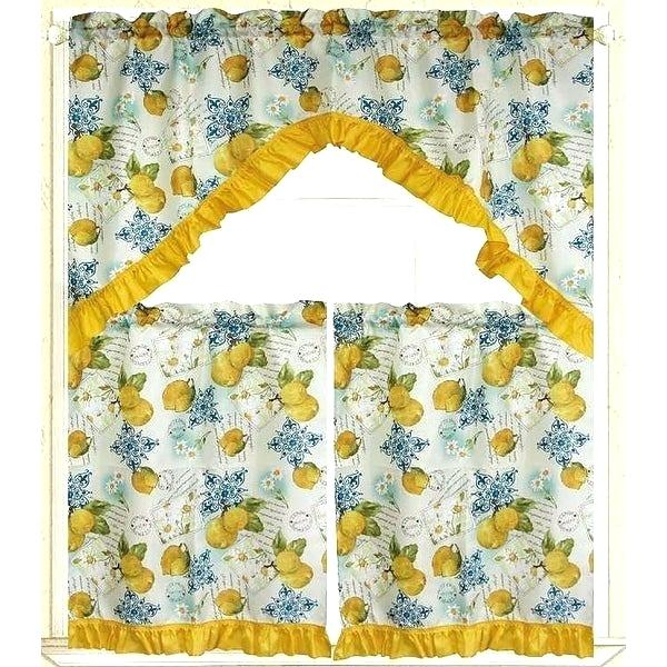 Inspiration about 3 Piece Kitchen Curtain Set – Freddybeach.co Regarding Floral Embroidered Sheer Kitchen Curtain Tiers, Swags And Valances (#33 of 50)