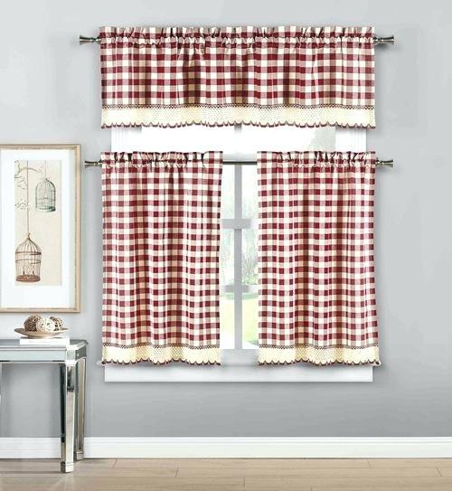 Popular Photo of Lodge Plaid 3 Piece Kitchen Curtain Tier And Valance Sets