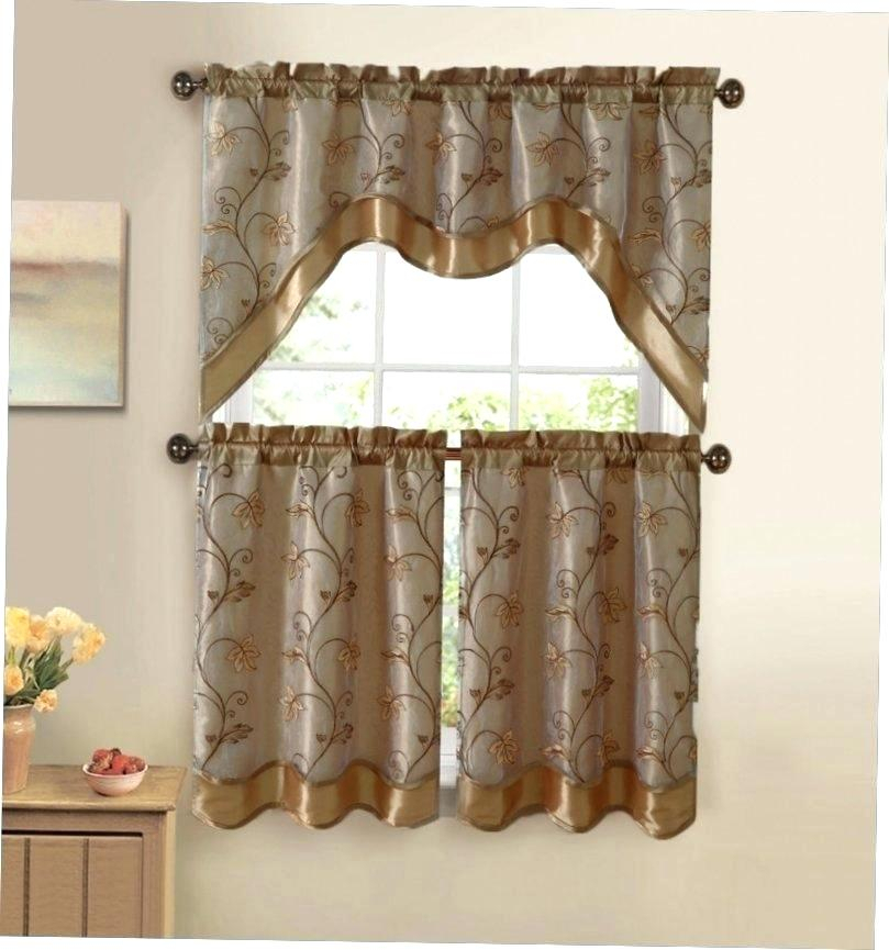 Inspiration about 3 Piece Kitchen Curtain Set – Freddybeach.co With Chateau Wines Cottage Kitchen Curtain Tier And Valance Sets (#8 of 30)