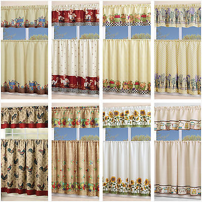 Inspiration about 3 Piece Kitchen Curtain With Swag And Tier Window Treatment Set Chef  Sunflower   Ebay Throughout Multicolored Printed Curtain Tier And Swag Sets (#22 of 30)