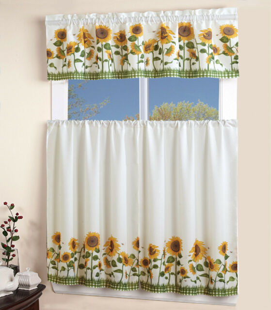 Inspiration about 3 Piece Kitchen Curtain With Swag And Tier Window Treatment Set Chef  Sunflower For Chocolate 5 Piece Curtain Tier And Swag Sets (#6 of 30)