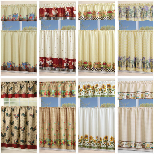 Inspiration about 3 Piece Kitchen Curtain With Swag And Tier Window Treatment Set Chef  Sunflower Within Chocolate 5 Piece Curtain Tier And Swag Sets (#1 of 30)