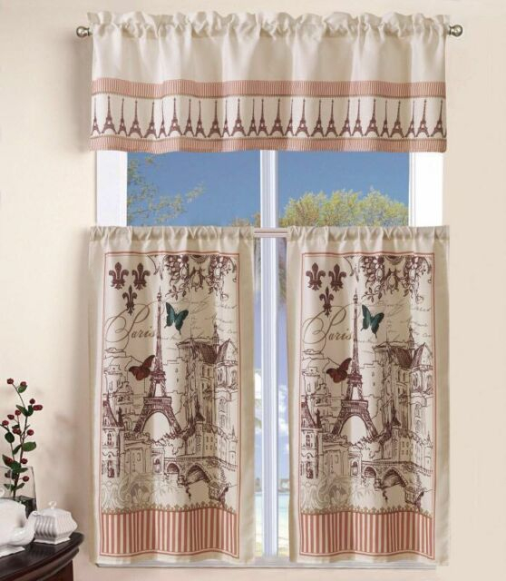 Inspiration about 3 Piece Kitchen Curtain With Swag And Tier Window Treatment Set Tuscany Inside Grace Cinnabar 5 Piece Curtain Tier And Swag Sets (#3 of 30)