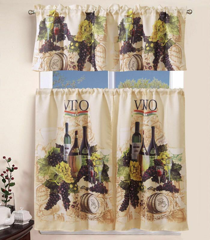 Inspiration about 3 Piece Kitchen Curtain With Swag And Tier Window Treatment Set Tuscany Throughout Grace Cinnabar 5 Piece Curtain Tier And Swag Sets (#7 of 30)