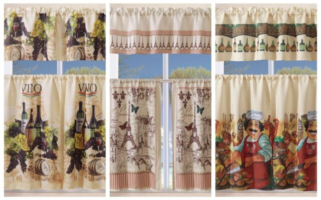 Inspiration about 3 Piece Kitchen Curtain With Swag And Tier Window Treatment Set Tuscany Throughout Grace Cinnabar 5 Piece Curtain Tier And Swag Sets (#1 of 30)
