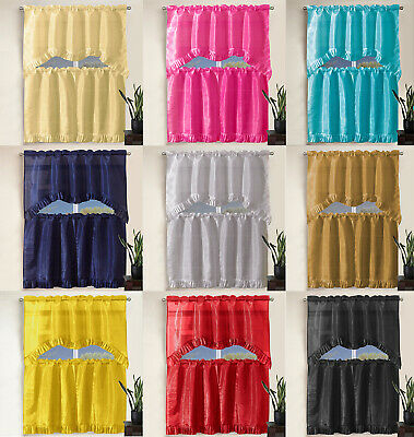 3 Piece Pleated Ruffle Faux Silk Solid Kitchen Window Within Faux Silk 3 Piece Kitchen Curtain Sets (View 5 of 44)
