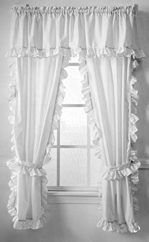 Inspiration about 3 Piece Red White Rooster Kitchen Tiers Valance Set 57X36 Throughout Classic Black And White Curtain Tiers (#28 of 50)