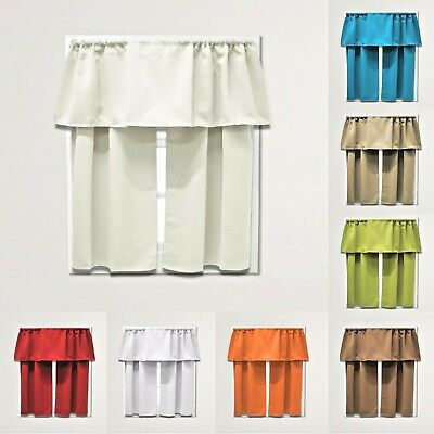 3 Piece Set Decorative Beth Blackout Modern Kitchen Curtain Panel | Ebay Throughout Twill 3 Piece Kitchen Curtain Tier Sets (View 3 of 42)