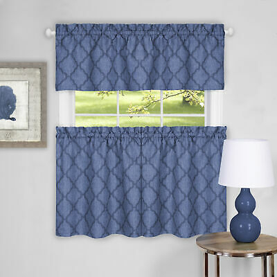 3 Piece Window Kitchen Curtain Set Country Trellis Sheer Tier Panels And Valance | Ebay Intended For Light Filtering Kitchen Tiers (View 29 of 50)