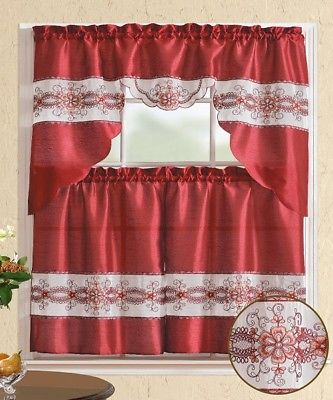 Inspiration about 3 Pieces Embroidery Burgundy Flower Kitchen/cafe Curtain Tier And Swag Set  741459043117 | Ebay Within Coffee Embroidered Kitchen Curtain Tier Sets (#11 of 30)
