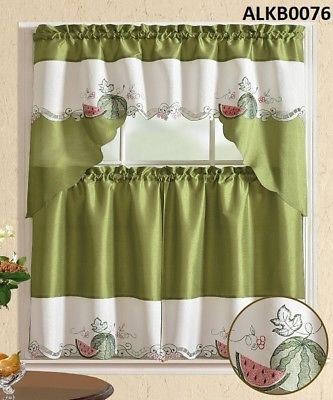 Inspiration about 3 Pieces Embroidery Green Watermelon Kitchen/cafe Curtain Tier And Swag Set  741459043124 | Ebay In Traditional Two Piece Tailored Tier And Valance Window Curtains (#38 of 50)