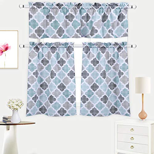 Inspiration about 3 Pieces Kitchen Curtains Set, Trellis Pattern Cotton Blend Tier Curtains  And Valance Set For Cafe Bathroom, Geometric Rod Pocket Tailored Kitchen Within Cotton Blend Grey Kitchen Curtain Tiers (#10 of 47)