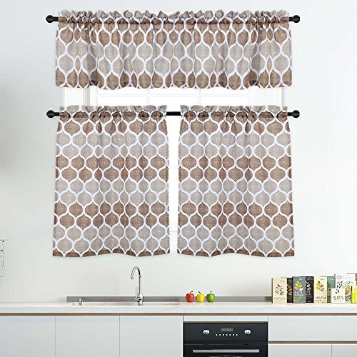 Inspiration about 3 Pieces Tier Curtains And Valances Set, Moroccan Tile Print Kitchen/cafe  Window Curtain Sets, Tailored Drapery Lattice Pattern Curtains For  Bathroom, In Window Curtain Tier And Valance Sets (#16 of 50)