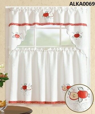 3 Pieces White Embroidery Red Apple Kitchen/cafe Curtain For Delicious Apples Kitchen Curtain Tier And Valance Sets (View 10 of 30)