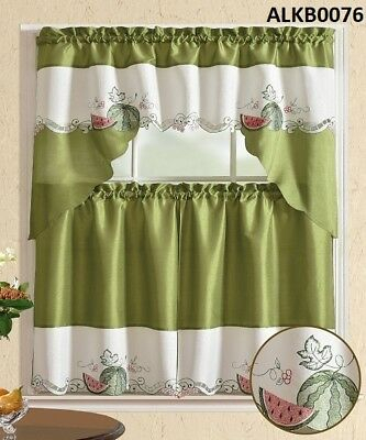 3 Pieces White Embroidery Red Apple Kitchen/cafe Curtain Regarding Delicious Apples Kitchen Curtain Tier And Valance Sets (View 26 of 30)