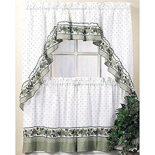 Inspiration about 36 Inch Window Curtains Tier Curtains Window Curtains White Inside Cottage Ivy Curtain Tiers (#2 of 49)