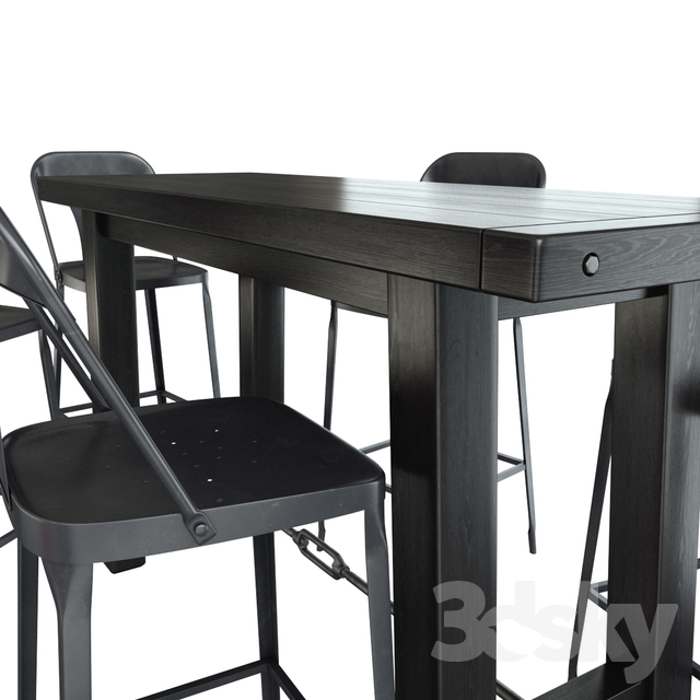 Inspiration about 3D Models: Table + Chair – Benchwright Bar Table + Maxx Intended For Current Benchwright Bar Height Dining Tables (#18 of 20)