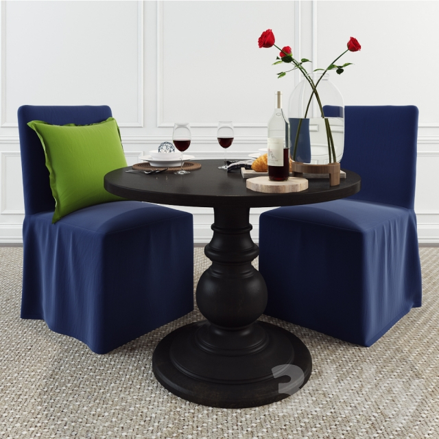 Inspiration about 3D Models: Table + Chair – Pottery Barn Set – Dawson Large With Preferred Dawson Pedestal Tables (#7 of 20)