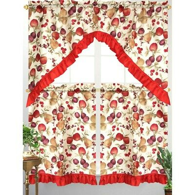 3pc Diana Kitchen Curtain Tier Swag Red Ruffle Border Mixed Fruit Apple Print 815634062948 | Ebay Intended For Delicious Apples Kitchen Curtain Tier And Valance Sets (View 18 of 30)