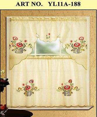 Inspiration about 3Pc Kitchen Curtain Set Beige Embroidered Pink Flower Drapes Inside Coffee Embroidered Kitchen Curtain Tier Sets (#29 of 30)