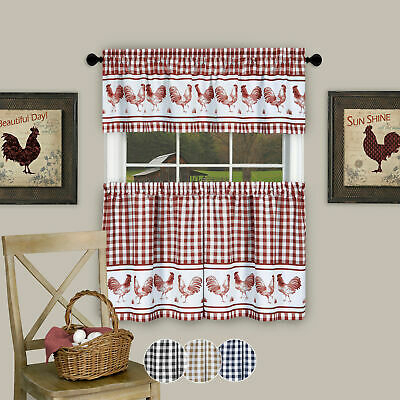 Inspiration about 3Pc Kitchen Curtain Set, Check Gingham Plaid Rooster, Tier Panels And  Valance With Regard To Live, Love, Laugh Window Curtain Tier Pair And Valance Sets (#3 of 50)