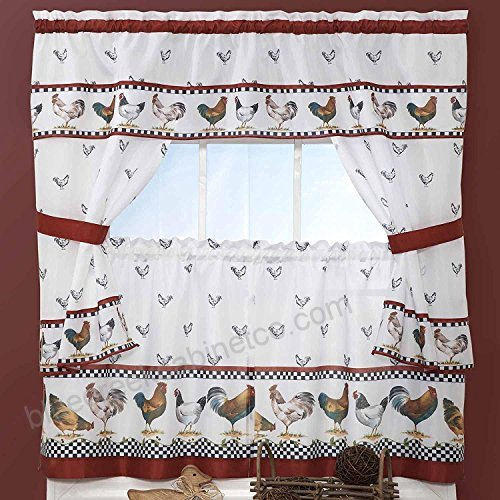 3Pc Red White Rooster Kitchen Tiers Valance Set 57 X 24 Throughout Lodge Plaid 3 Piece Kitchen Curtain Tier And Valance Sets (#7 of 30)