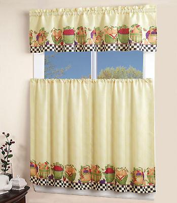 Inspiration about 3Pc Rod Pocket Kitchen Window Curtain 2 Tiers + 1 Tailored Valance Set –  Fruit | Ebay In Embroidered Rod Pocket Kitchen Tiers (#45 of 49)
