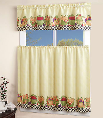 Inspiration about 3Pc Rod Pocket Kitchen Window Curtain 2 Tiers + 1 Tailored Valance Set –  Fruit | Ebay Throughout Top Of The Morning Printed Tailored Cottage Curtain Tier Sets (#15 of 50)
