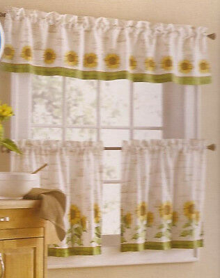 3Pc Set Country Sunflower Kitchen Window Curtains Tier With Regard To Spring Daisy Tiered Curtain 3 Piece Sets (View 5 of 30)