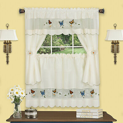 3Pc Set Country Sunflower Kitchen Window Curtains Tier Within Spring Daisy Tiered Curtain 3 Piece Sets (View 6 of 30)